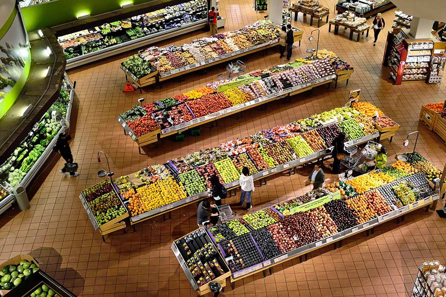 Panoramic shot of a supermarket