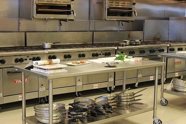 Clean, organized commercial kitchen