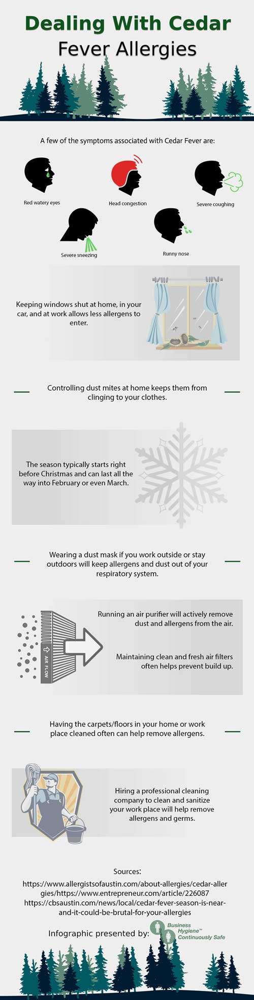 Infographic on Dealing with Cedar Fever Allergies—Read below for text version
